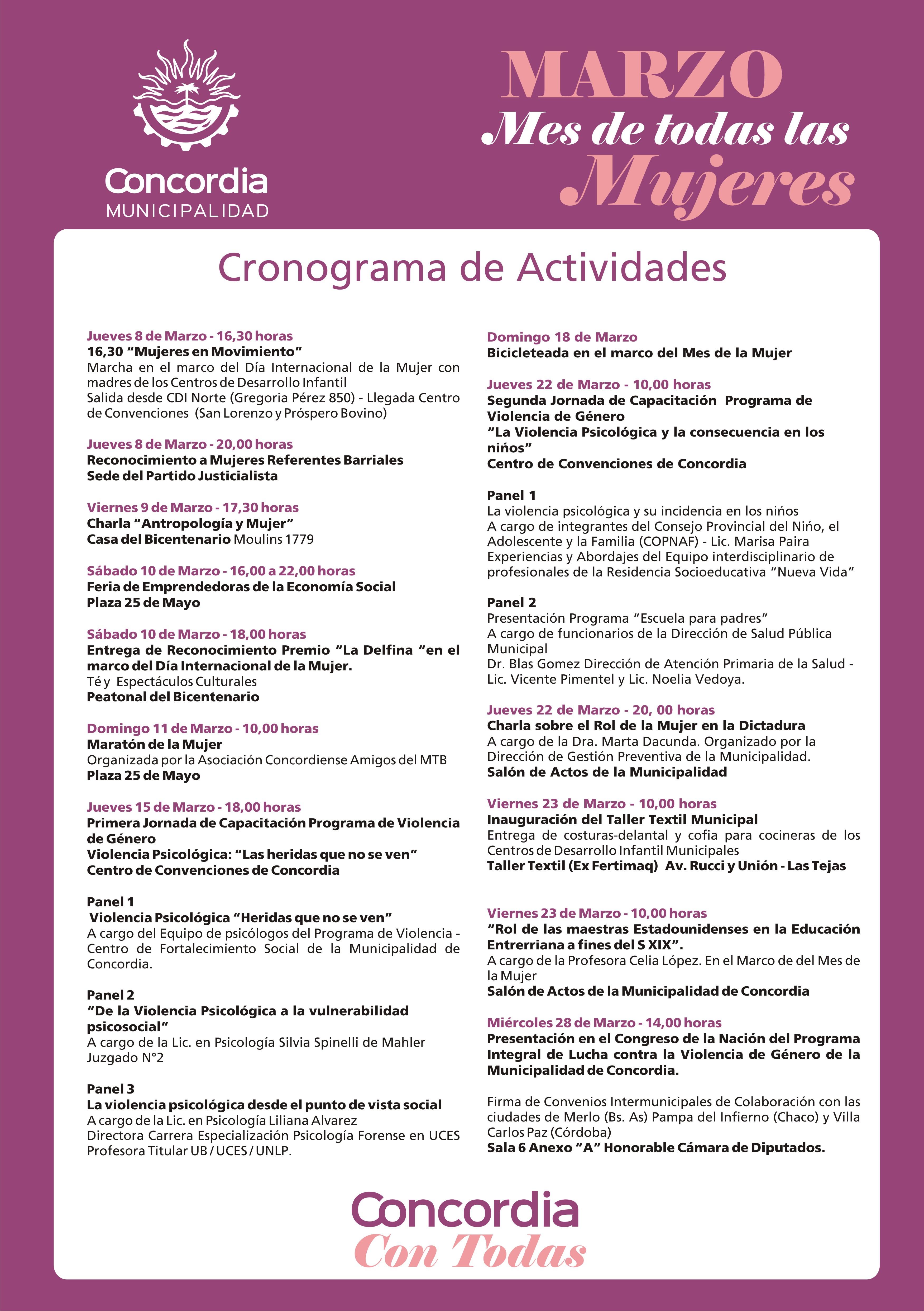 Concordia: actividades municipales en marzo por el Día de la Mujer ...